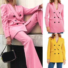 Pink Yellow Color Suit Blazer Jacket Women Fashion Long Slee