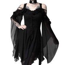 цена на Women's Fashion Dark In Love Ruffle Sleeves Off Shoulder Gothic Midi Dress  8.1