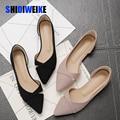 Fashion Casual Flache Schuhe Frau Neue Sommer Atmungsaktiv Komfortable Weichen sohlen Schuhe Spitz Flach Flache Frauen Schuhe AB056-in Flache Damenschuhe aus Schuhe bei