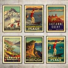 Suiza del cantón de Vaud de Lausanne-Ouchy Plage surf clásico pegatinas de pared de lona Vintage cartel Bar decoración regalo