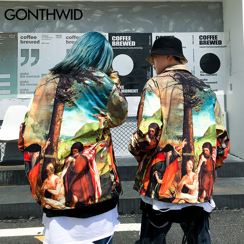 Image 4 - GONTHWID An Allegory of the Old and New Testaments Painting Print Windbreaker Coaches Jackets Streetwear Hip Hop Casual Coats-in Jackets from Men's Clothing
