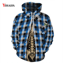 3D Hoodies Men Women Hipster Sweatshirt Plaid Graphic Streetwear Halloween Pullover Tracksuit Couples Clothes Coat Tops men plaid print pullover