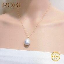 ROXI Мода натуральный пресноводный жемчуг кулон ожерелье для женщин длинное барокко жемчужное ожерелье золотые аксессуары для ювелирных украшений