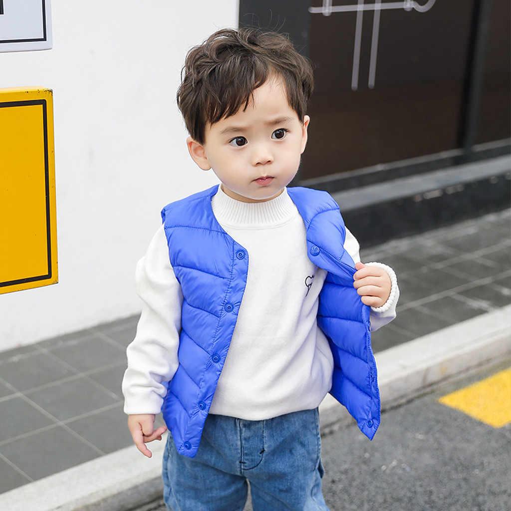 2019 calentador de invierno para niños pequeños Baby Grils niños Chaleco de rayas sólidas chaleco cálido prendas de vestir abrigo de algodón ropa infantil nuevo