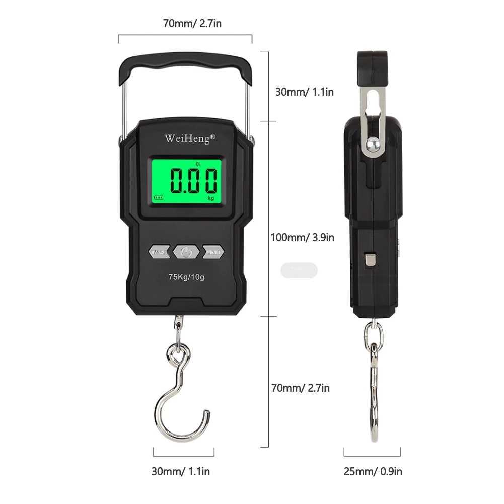 Весы электронные портативные для багажа, мини-весы с крючком для подвески, максимальный вес 75 кг, вес 10 г, светодиодный дисплей