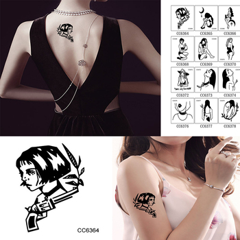 Disposable Personality Cool Waterproof Tattoo Stickers Bad Girl Tattoo Stickers Line Black And White Tattoo image