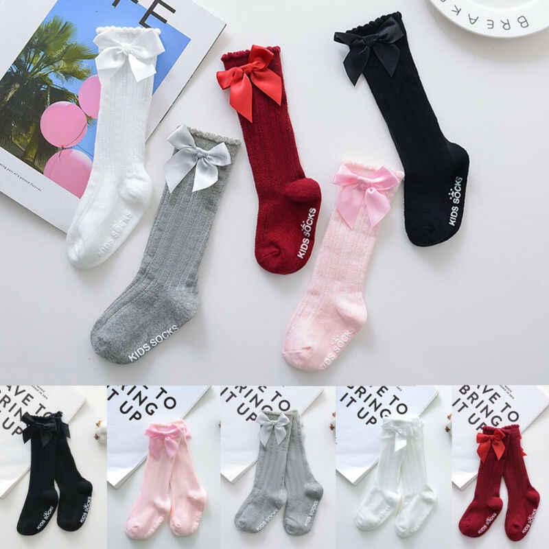2019 letnie ubrania dla dzieci nowe dziecięce dziecięce dziewczyny duża kokarda kolana wysoko długo miękkie bawełniane koronkowe skarpetki dla dzieci Bowknot 100% bawełniane skarpetki