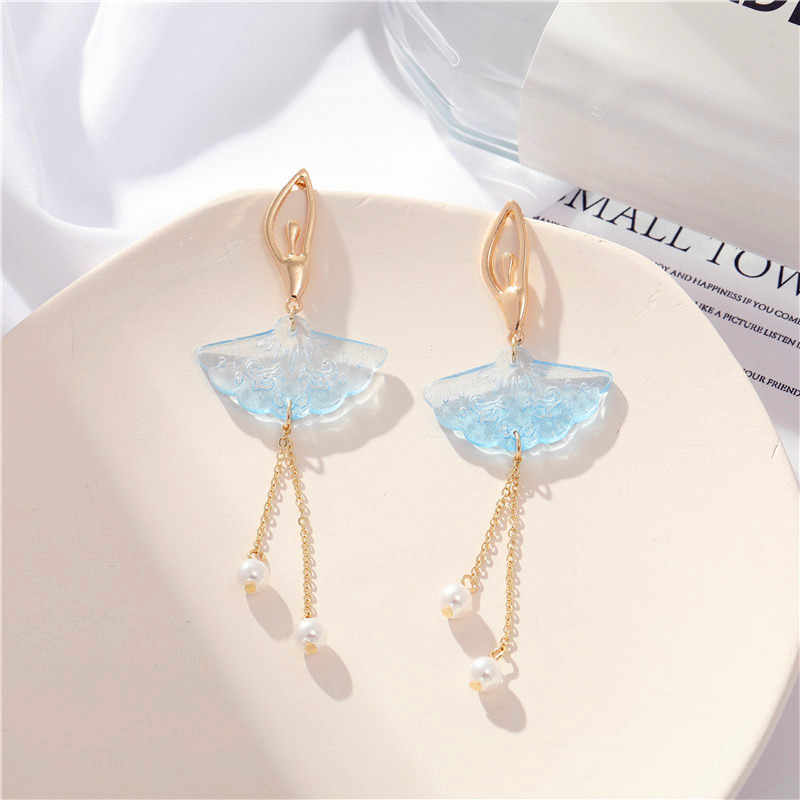 Korean light luxury 925 ice-cold spring and summer colorful ballet girl earrings fashion long style earrings