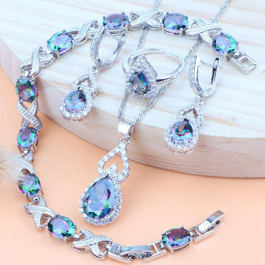 Cubic Zirconia 925 Sterling Silver Women Costume Bridal Jewelry Sets Wedding Necklace Bracelet Rings Earring Pendant Jewelry Set