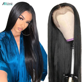 Allove 360 Lace Frontal Wig Pre Plucked Human Hair Wigs For Women 250 Density Lace Wig Brazilian Straight Lace Front Wig