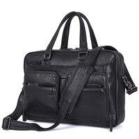 Luufan High Qaulity Newest 100% Genuine Leather Men Handbag 15 Inch PC Laptop Tote Bag Black Mens Leather Handbags 40cm Length