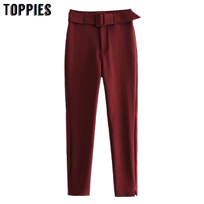 2020 Spring Burgundy Suit Pants Women High Waist Trousers Belt Leisure Harem Pants Side Split