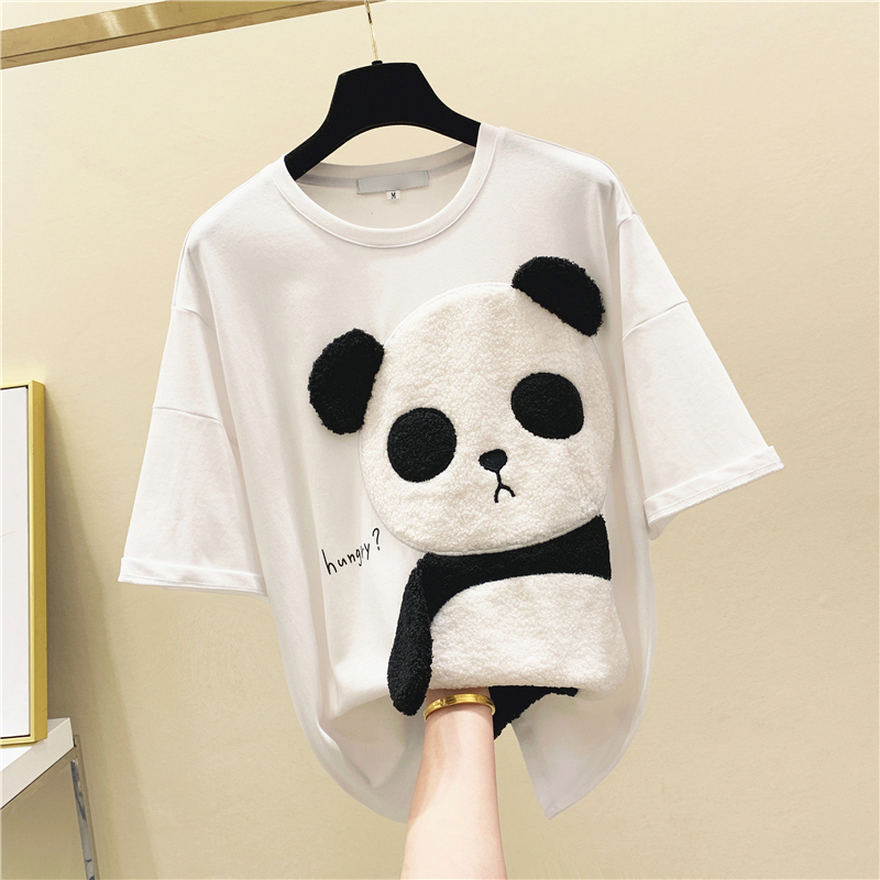 Panda Embroidered Short Sleeve Cotton T-shirt Women's 2020 Spring Summer Loose-Fit T-shirt Fashion Female Clothes Tshirt Tee T