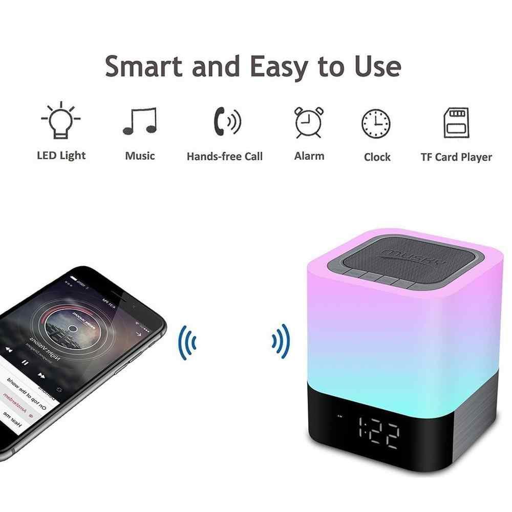 متعددة الوظائف الهاتف المحمول اللاسلكية الصوت ليلة ضوء اللمس الذكية الملونة نوم السرير المتكلم ساعة تنبيه مصباح