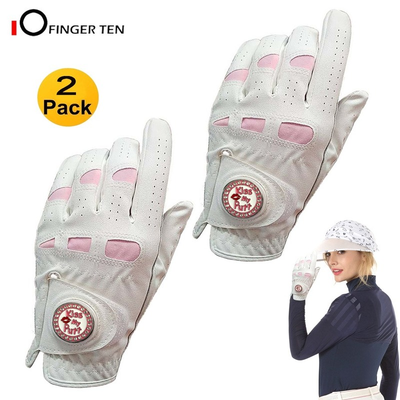2 Pcs Cabretta Leather Golf Gloves Women with Bling Ball Marker Extra Grip Left Right Hand Pink Fit Ladies Girls Golfer