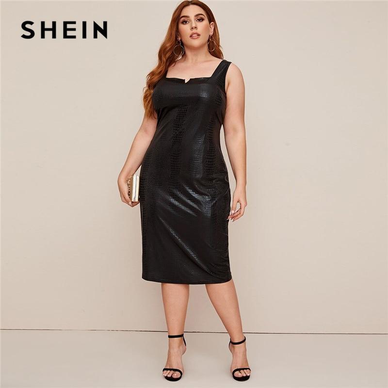 SHEIN Plus Size Black Crocodile Faux Leather Fitted Dress Women 2020 Summer Sleeveless Plus Elegant Tank Long Dresses