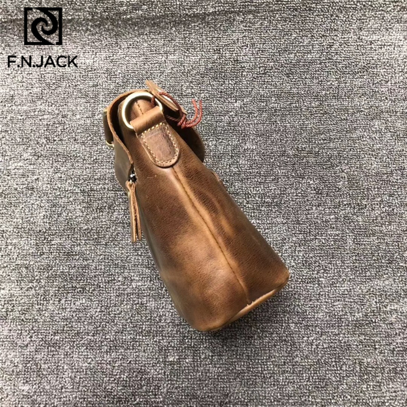 F.N.JACK Fashion First Layer Cowhide Leisure Bag Retro Bucket Bag Single Shoulder Diagonal Span Bag 2019