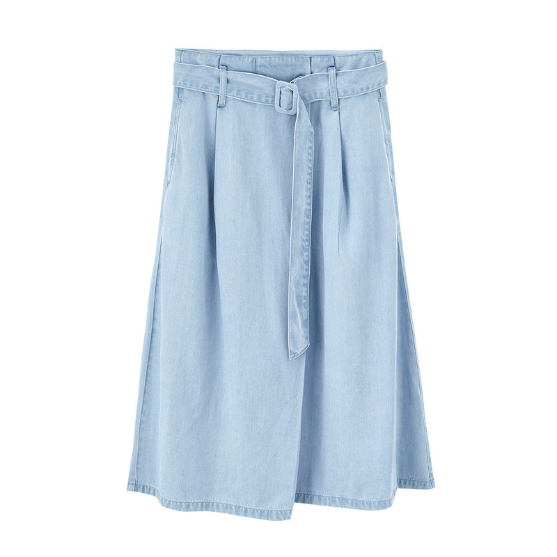 INMAN 2020 Summer New Arrival Lyocell Letter Belt Literary Leisure Denim Skirt