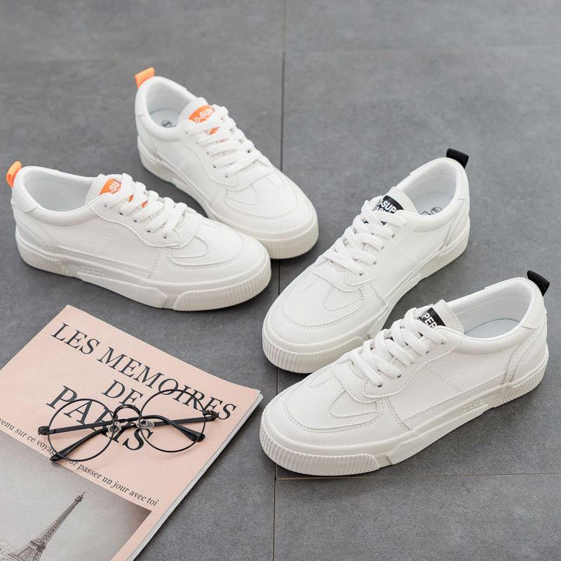 Girl Casual Shoes All Match Basic Style 2020 Spring New Women White Sneakers Beige Orange Lace Up Low Leather Shoes Flat Heel