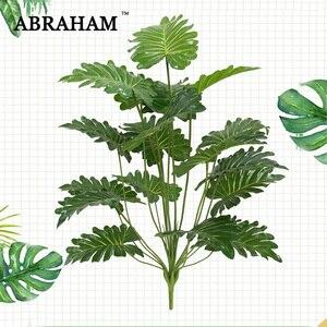 Tenedor Artificial Tropical de 65cm y 18 cm, ramas de árbol grande con plantas artificiales de Monstera, hojas verdes de plástico de imitación para decoración de otoño o Halloween