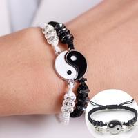 Couple Bracelets Hematite Leather Cord Braid Chain Bracelet Chinese Tai Chi Alloy Pendant Two-piece Woven Lover Bracelet Gift