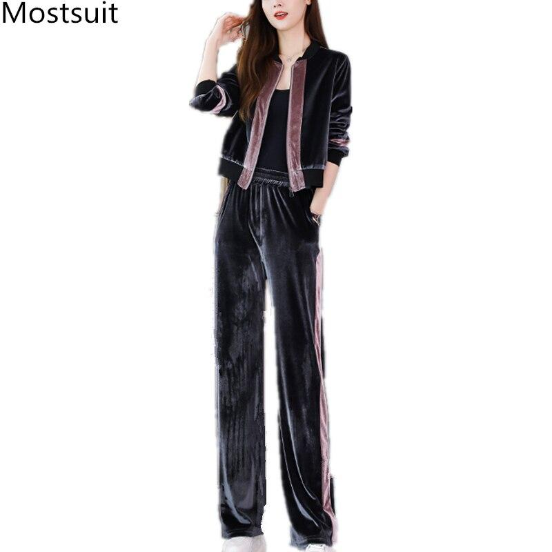 2019 Autumn Velvet Two Piece Sets Outfits Women Plus Size Jacket And Pants Suits Vintage Elegant Fashion Casual Sets Black Grey 41