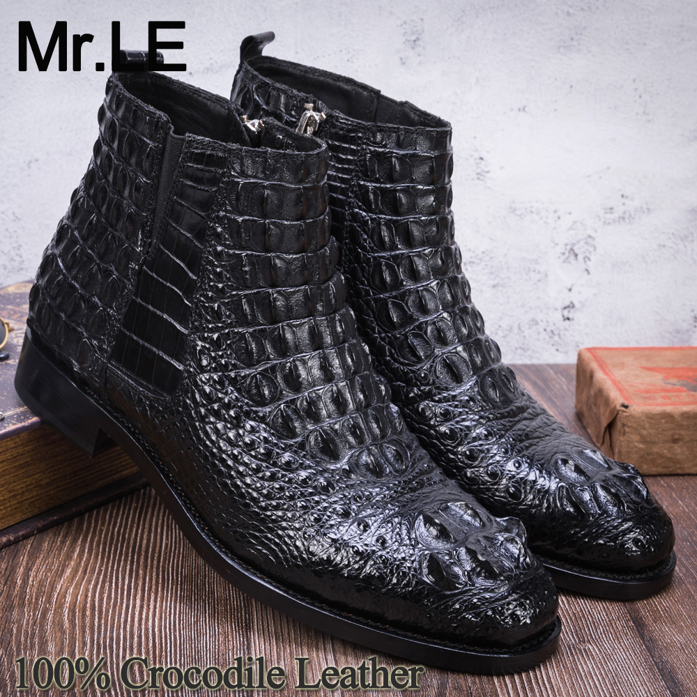 Crocodile Boots Men Dress Shoe 100% Genuine Leather Party Wedding Luxury Casual Formal Fashion Shoes Mens Chelsea Alligator Boot