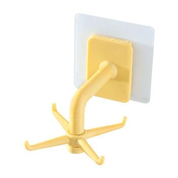 360 Degrees Rotated Kitchen Hooks Self Adhesive 6 Hooks Home Wall Door Hook Handbag Clothes Ties Bag Hanger Hanging Rack 12