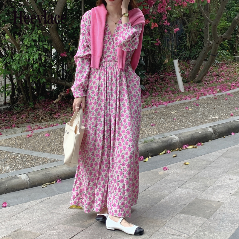 Vintage Floral Print Women's Long Dress Summer 2021 New Long Sleeve Chic Cross V-Neck Casual Loose Beach Dresses Pockets
