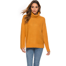 Fashion Sweaters For Women Autumn Winter Yellow Knitted Jumper Loose Casual Turtleneck Full Sleeve Pullovers Chompas Para Mujer