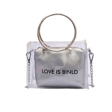 2pcs Women Fashion Shoulder Bag Clutch Purse Transparent Handbag Brand Design Small PU Composite Bags pink pu zip design shoulder bags