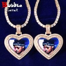 Coração amor imagem de memória baguette colar & pingente sólido volta micro pave charme masculino hip hop jóias