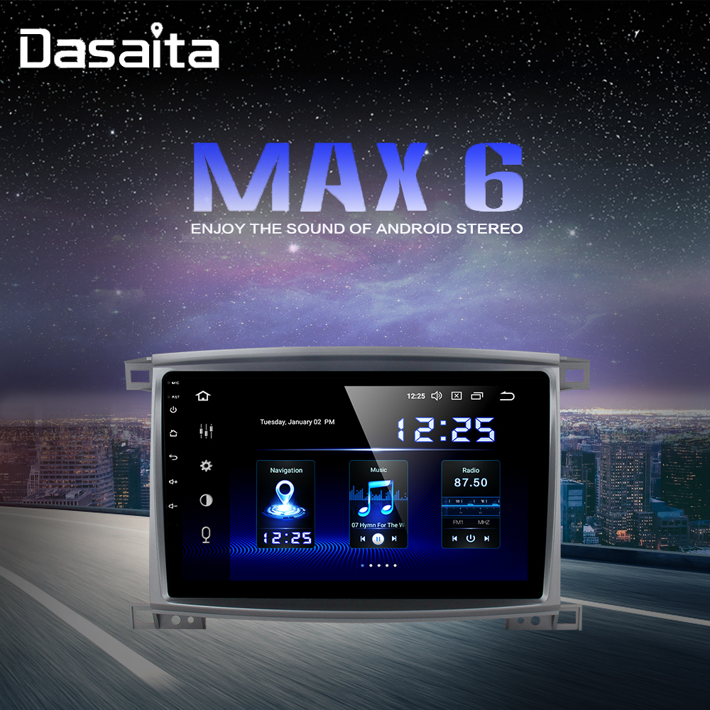 Radio 1 Din Android 9.0 Car Stereo for <font><b>Toyota</b></font> LC <font><b>100</b></font> Land Cruiser <font><b>100</b></font> 2003 GPS Navigation Bluetooth 64GB ROM image