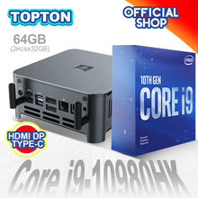 Topton chegada nova 10th gen intel core mini pc i9 10880h i7 10750h i5 10300h windows 10 2 * ddr4/m.2 dp hdmi 4k computador htpc nuc