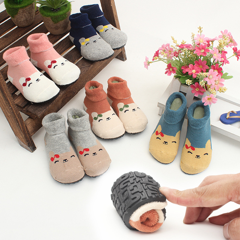 Barefoot Shoes Kids Socks Baby Winter Shoes Kids Home Slippers Knitted Socks TPE Rubber Shoes Sole Breathable Sock Shoes