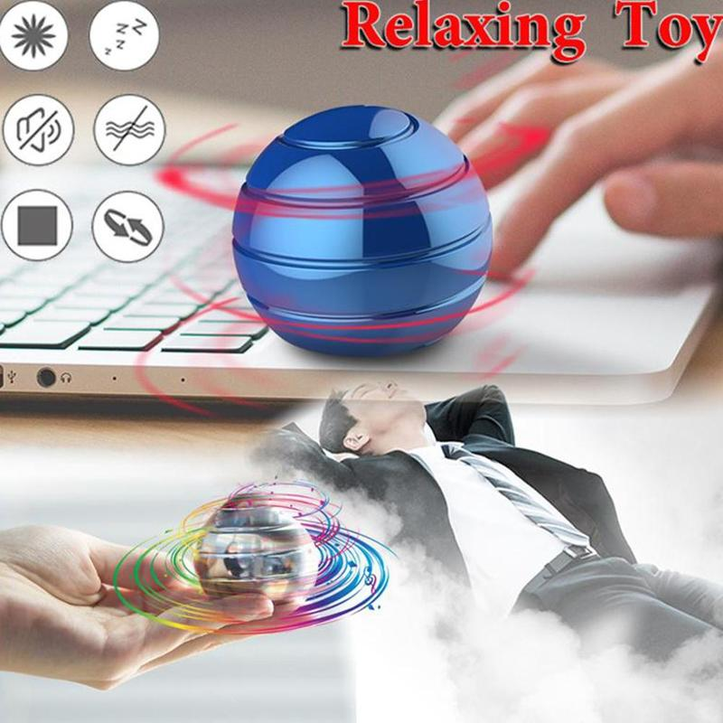 Desktop Stress Relief Toy Aluminum Alloy Decompression Hypnosis Rotary Gyro Adult Fingertip Toy Kinetic Round Metal Spinner Gift