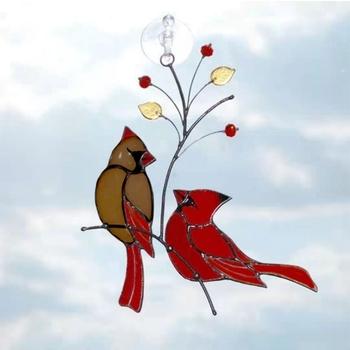 Dropship piękne gałęzie czerwone ptaki witraże ozdoby odkryty ogród duszpasterski tanie i dobre opinie CN (pochodzenie) 090D9FF502119-4