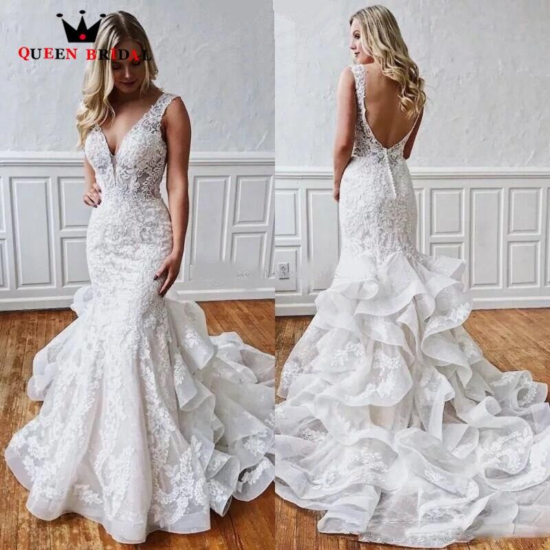 Vintate Wedding Dress Mermaid V-neck Backless Tulle Lace Beading 2020 New Design Bridal Dresses Custom Made SH14