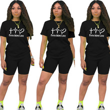 2020 Summer Letter T Shirts Top And Shorts Tracksuit Outfit Fashion Casual Woman