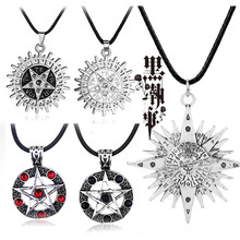 Anime Black Butler Collana Pentacolo Pentagramma D. Gray-man Logo Pendenti con gemme e perle Collane Cosplay Accessori Dei Monili Del Choker Regalo(China)