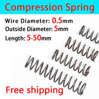 Compressed Spring Wire Diameter 0.5mm, Outer Diameter 5mm Pressure Spring Return Spring Release Spring Mechanical Spring