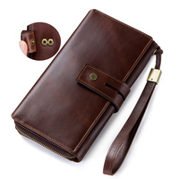Crazy Horse Cow Leather Tri fold Clutch Long Design Genuine Leather Wallet Man Phone Wallet Luxury Multi card Bit Wallet Coinbag