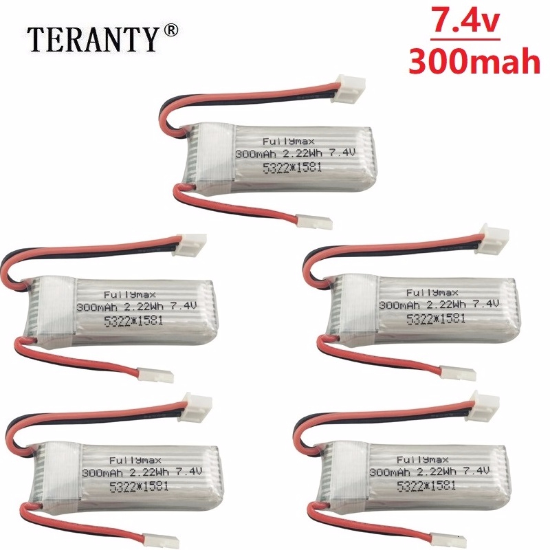 7.4V 300mAh 25C Lipo Battery for XK DHC-2 A600 A700 A800 A430 7.4V Replacement Battery for WLToys F959 RC Airplane RTF 5pcs/sets image