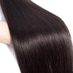 Image 3 - Büyük 7x7 kapatma ve 3 demetleri Remy insan saçı örgüsü demetleri ile Frontal brezilyalı düz saç demetleri ile 7*7 kapatma