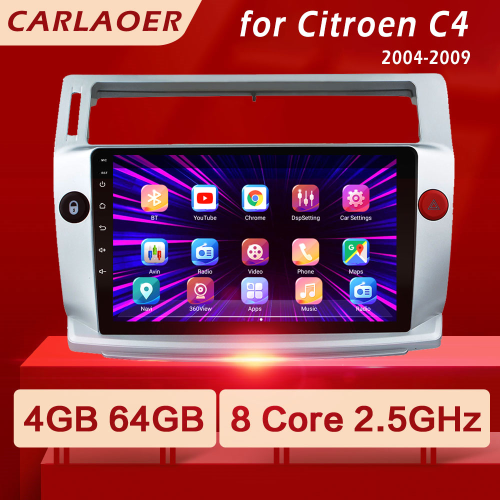 Автомагнитола для Citroen C4, мультимедийный видеоплеер на Android, 2 din, GPS