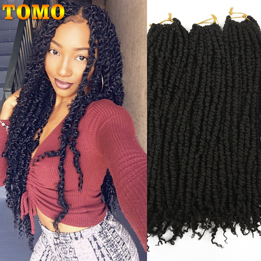 TOMO 18Inch 45cm Spring Passion Twist Crochet Hair Ombre Synthetic Braiding Hair Extensions 12Roots Fluffy Crochet Braids
