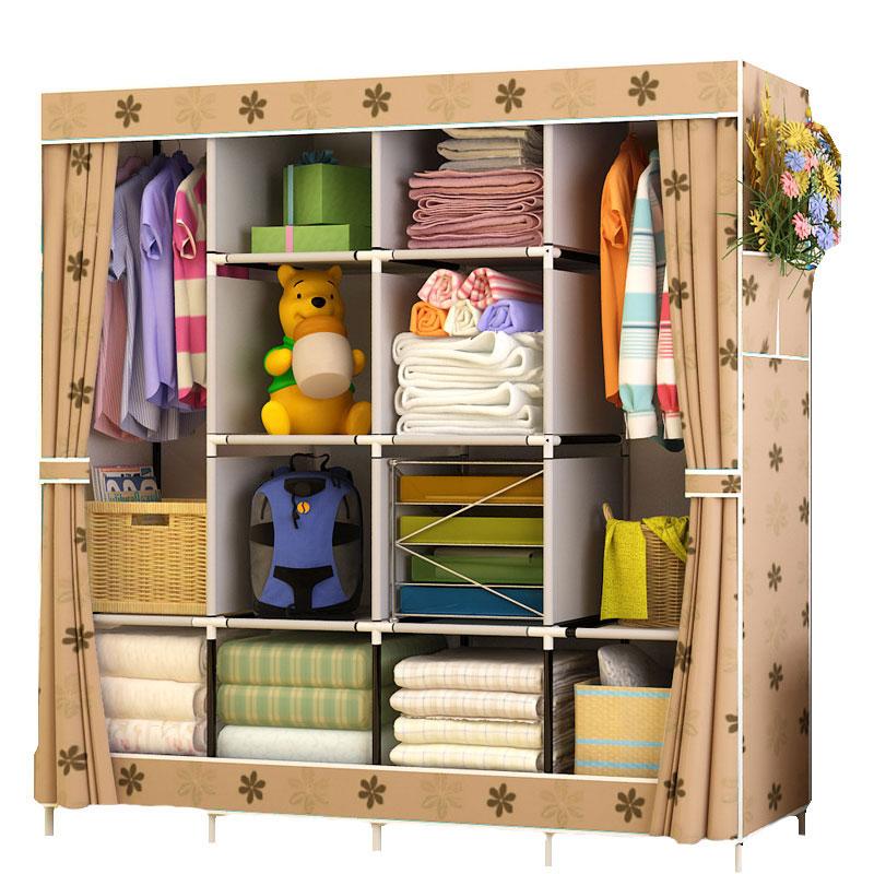 Large Wardrobe Cloth Wardrobe Fabric Closet Clothing Storage Cabinet Dustproof Wardrobe Bedroom Furniture Closet  Storage Cubes|Wardrobes| |  - title=