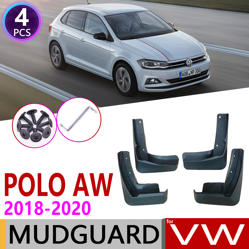 4 PCS For Volkswagen VW Polo MK6 AW 2018 2019 2020 Car Mudflaps Fender Mud Flaps Guard Splash Flap Mudguards Accessories