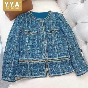 Female Jacket Coat Diamond-Button Long-Sleeve Vintage Blue Fashion Women New Autumn Short