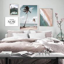 Now Inspiring Quotes Canvas Painting Palm Tree Poster Beach Landscape Art Print Blue Retro Car Wall Pictures For Living Room
